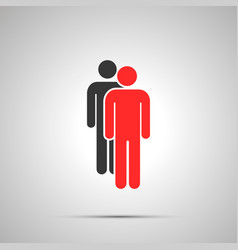 two mens silhouettes simple black icon with vector image