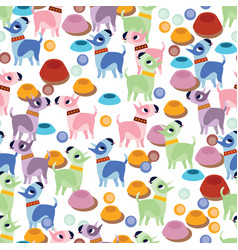 unusual seamless pattern with cute cartoon dogs vector image