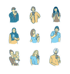 various people using mobile phones for making vector image