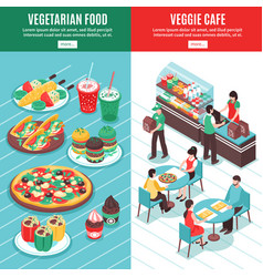 Vegetarian isometric vertical banners vector