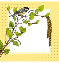 Vintage background with birch branches and tit vector image