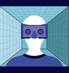 virtual reality technology set icons vector image