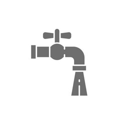 Water tap grey icon isolated on white background vector