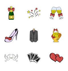 wedding celebration icons set cartoon style vector image