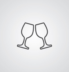 wineglasses outline symbol dark on white vector image