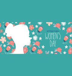 Womens day pink floral web banner with woman face vector