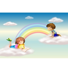 A rainbow with kids vector image vector image