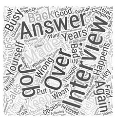 How not to obsess after a job interview word cloud vector