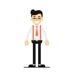 Positive and young office clerk character vector