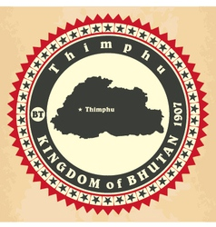 Vintage label-sticker cards of Kingdom of Bhutan vector image vector image