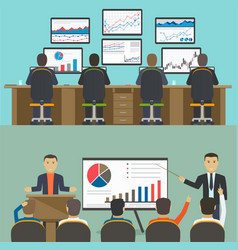 workstation with a group of workers web analytics vector image