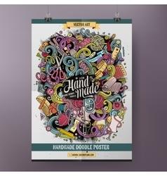 Cartoon hand drawn doodles Handmade poster vector image