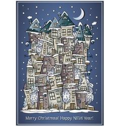 Cartoon winter fairytale town greeting card vector