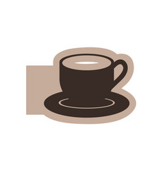 color emblem with silhouette cup coffee with dish vector image