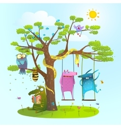 Cute summer animals freinds playing under the tree vector image