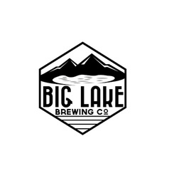 lake and mountains on brewing company label vector image