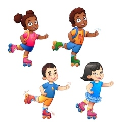 Rollerblading children boys and girls African vector image
