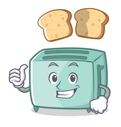 thumbs up toaster character cartoon style vector image