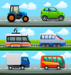 transport icons on the road vector image