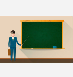 college teacher with empty green school chalkboard vector image