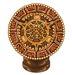 Ancient calendar of Maya on white background vector image