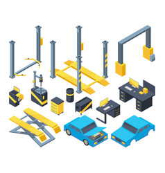 auto service with different equipment mechanic vector image vector image
