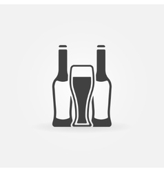 Beer bottles and glass vector image vector image