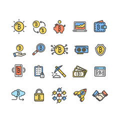 bitcoin currency signs color thin line icon set vector image