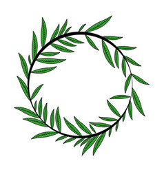 color image decorative crown of elongated leaves vector image