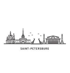 saint petersburg skyline architectural landmarks vector image