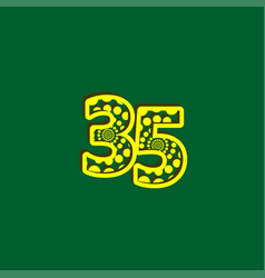 35 anniversary celebration bubble yellow number vector
