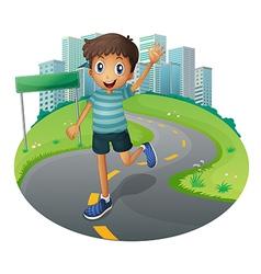 A happy boy running vector image