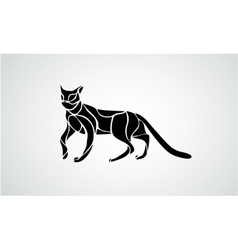 Abstract black cat silhouette vector image