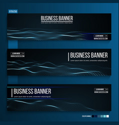 Abstract technology web banner background 3d grid vector