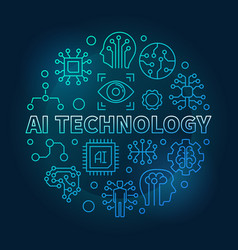 Ai technology round blue linear vector