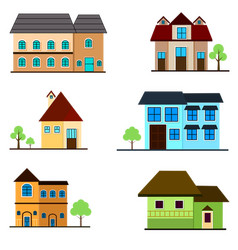 Apartment house set building architecture vector
