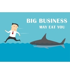 Big business shark attacking a businessman vector
