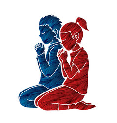 Boy and girl pray together prayer christian vector