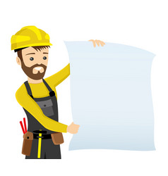 builder in yellow helmet vector image