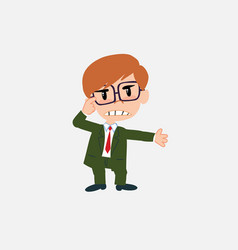 businessman with glasses is angry and points his vector image