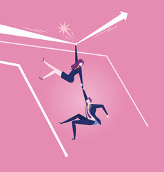 businesswoman hanging on arrow to rescue vector image