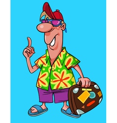 cartoon male tourist in bright clothes vector image