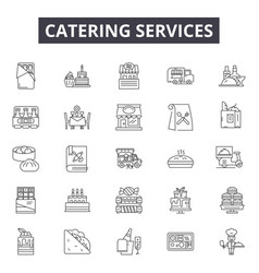 Catering services line icons signs set vector
