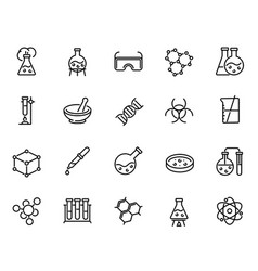 Chemical lab research linear icons set vector