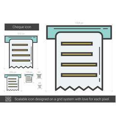 Cheque line icon vector
