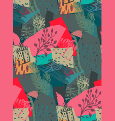 Christmas seamless pattern with colorful vector