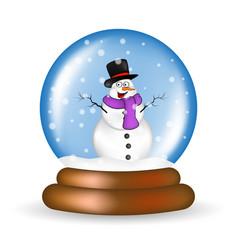 Christmas snowglobe with snowman cartoon design vector