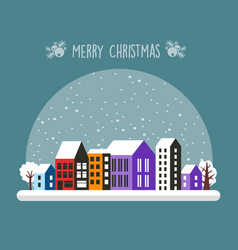 city snowy with houses vector image