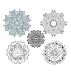 Collection of fancy round ornaments vector
