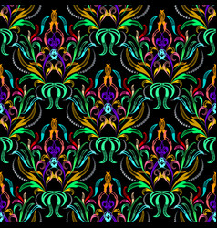 Colorful floral damask seamless pattern vector